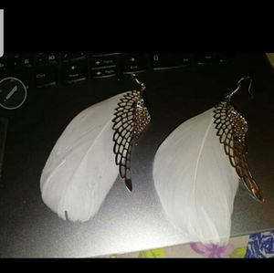 Silver white angel feathered earrings